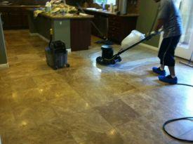 Before Travertine Tile Polishing by J2 Cleaning Las Vegas